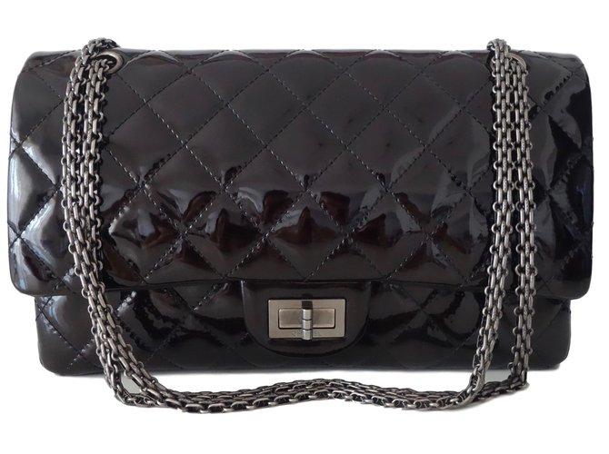63cadd170c1ad9 Chanel CHANEL 2.55 JUMBO Handbags Patent leather Dark red ref.47184 ...