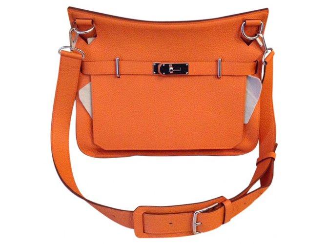 Sacs à main Hermès Jypsiere 34 Cuir Orange ref.47218