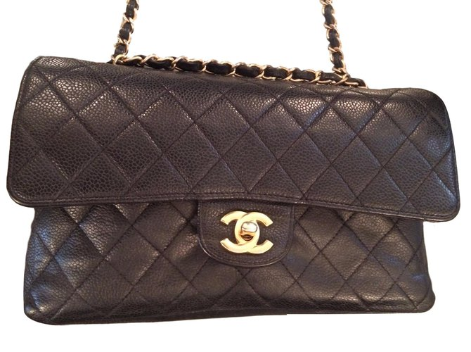 Sacs à main Chanel Superbe Chanel Timeless Medium en cuir caviar noir ! Cuir Noir ref.41339