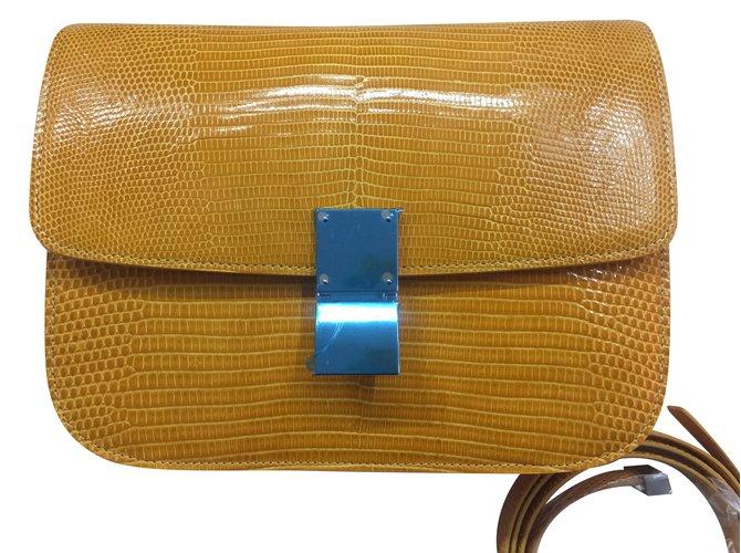 Céline Classic Box Lizard Handbags Exotic Leather Yellow Ref 47183