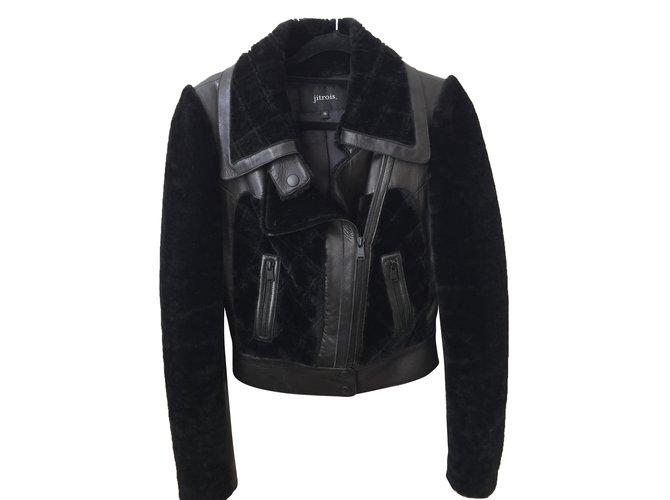 Vestes Jitrois Veste peau lainée cuir d'agneau Noir ref.47212