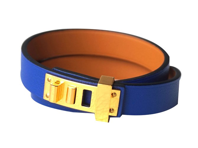 Bracelets Hermès Bracelets Cuir Bleu ref.47329