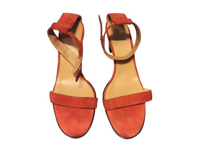 Hermès Sandals Sandals Velvet Orange ref.47338