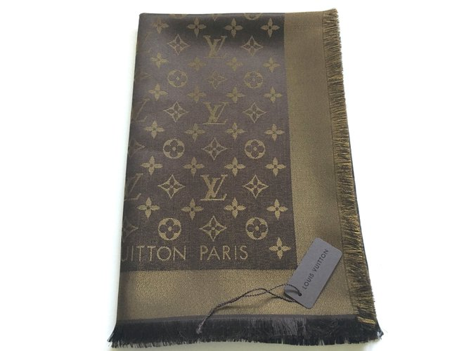 0ada4a7b1e0 Louis Vuitton Classical Monogram Brown and Gold Shine Scarf