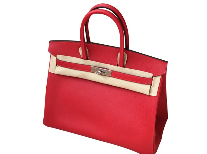 Hermès Hermes Birkin 35 Handbags Leather Red ref.47355 - Joli Closet a5be7469d71b
