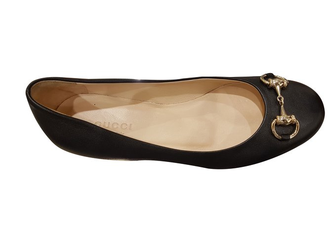 18a7646368f7 Gucci ballerine flat Ballet flats Leather Black ref.47377 - Joli Closet