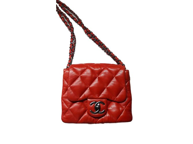 080d35f0af18 Chanel Square accordion flap bag Handbags Leather Red ref.47443 ...