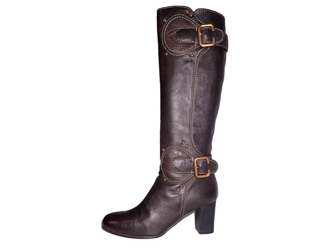 Chloé Boots Boots Leather Dark brown ref.47459