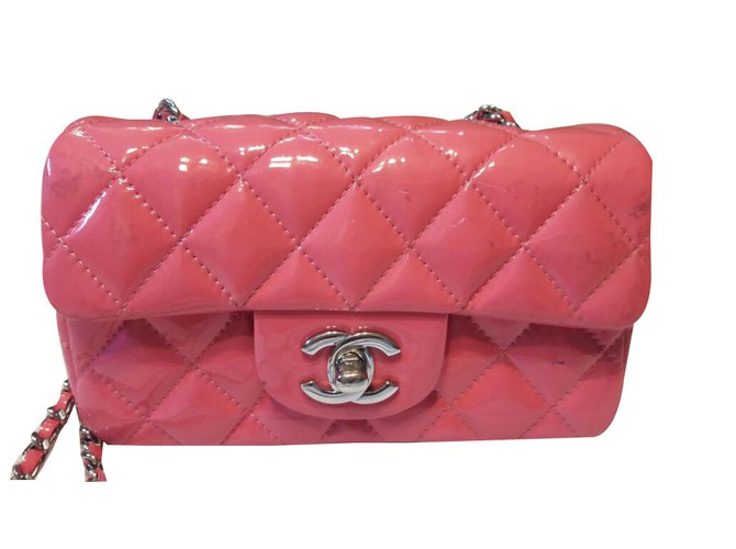 067248aa9b8717 Chanel Mini classic flap bag Handbags Patent leather Pink ref.47499 ...