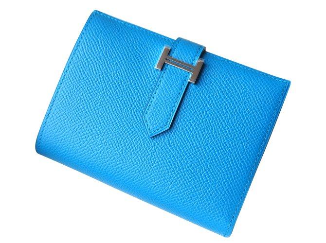 74da9ccb2f Portefeuilles Hermès Portefeuilles Cuir Bleu ref.47513 - Joli Closet