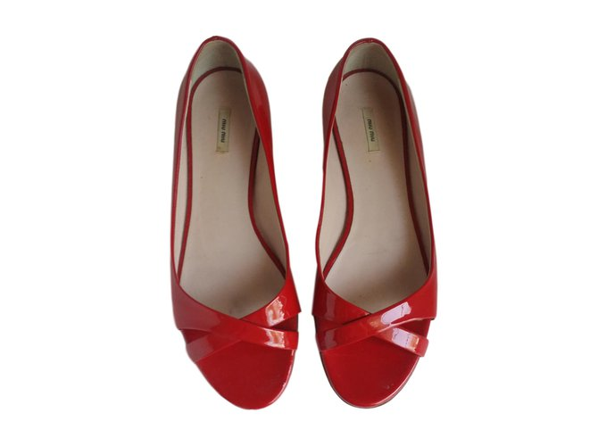 a39177d9f4a28 Miu Miu Ballet flats Ballet flats Leather,Patent leather Red ref.47519