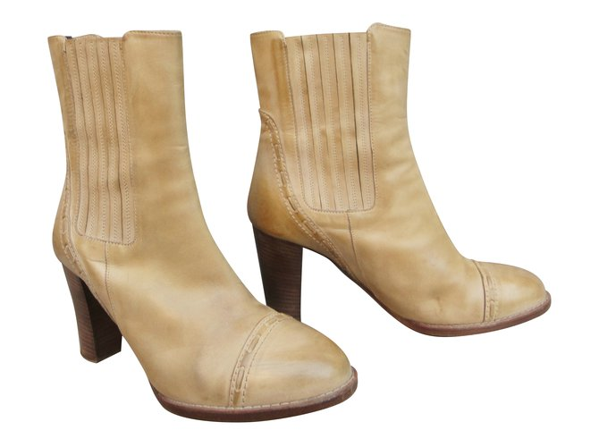 Chloé Ankle Boots Ankle Boots Leather Beige ref.47769