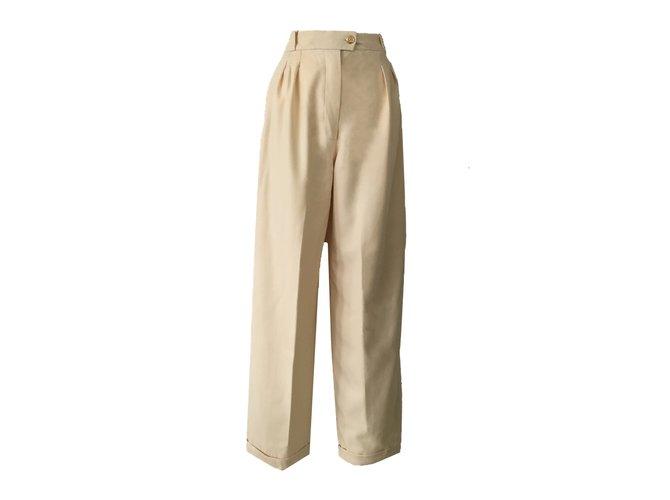 Chanel CHANEL  Pants Pants, leggings Wool Beige ref.47793