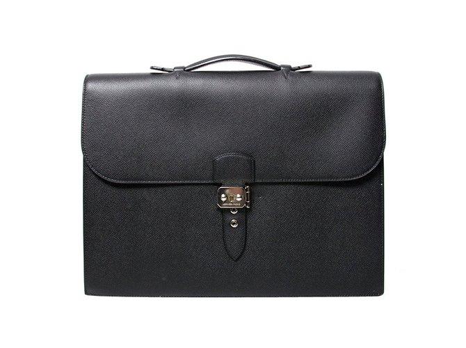 Sacs Hermès Cartable Sac à Dépêches noir Cuir Noir ref.47794