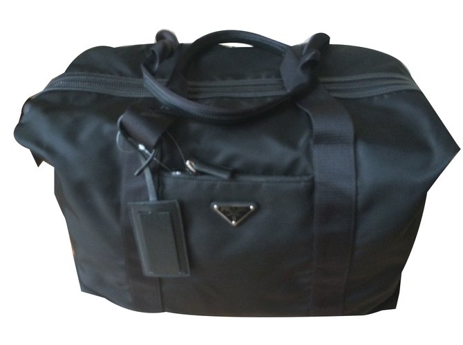 Prada Travel Bag Bags Briefcases Nylon Black Ref 47852