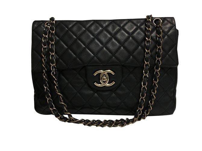 f58fb20672fffd Chanel Maxi classic flap bag Handbags Leather Navy blue ref.47854 ...