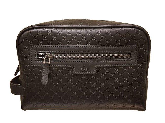 d5107d9400e743 Gucci New Gucci Men s 419775 BLACK Leather Micro GG Guccissima Large  Toiletry Dopp Bag Wallets Small