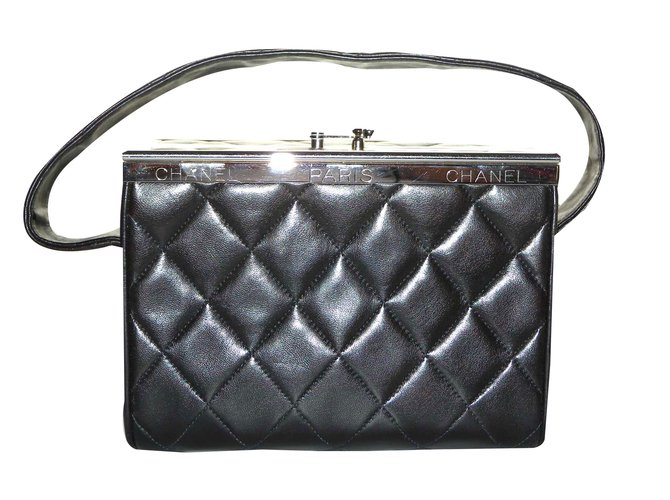 9fb506f82 Chanel Bag box minaudière Handbags Leather,Metal Black ref.48147 ...