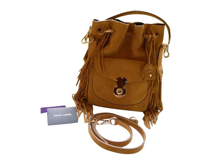 8be9f01c9486 Ralph Lauren Collection Brown Ricky Fringed Suede Bucket Handbags Suede  Caramel ref.48167