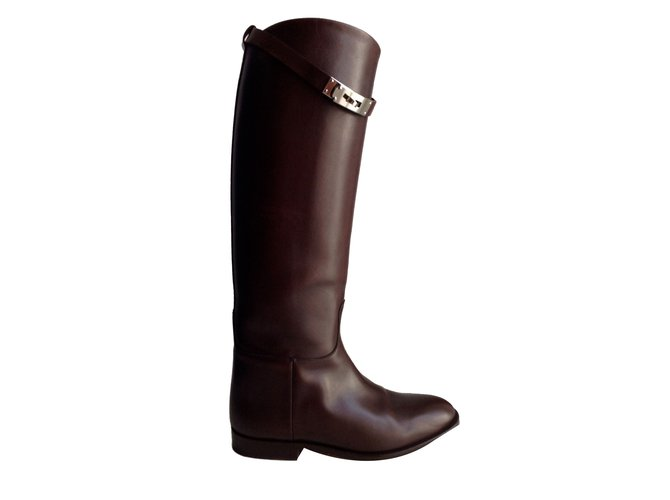 Hermès Jumping Boots Leather Brown ref.48169
