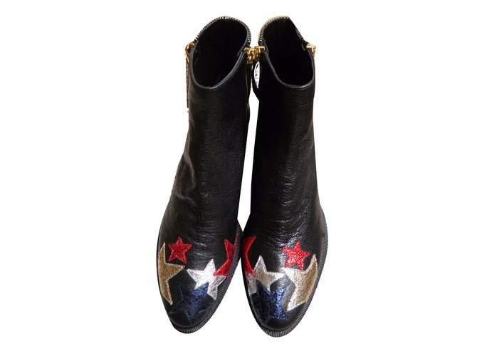 a89650c446355 ... Tommy Hilfiger rock n roll stars patches Ankle Boots Leather Multiple  colors ref.48173 official ...