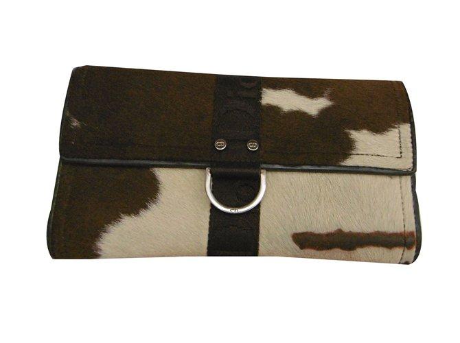 Petite maroquinerie Christian Dior Long portefeuille en poulain Cuir,Crin  Beige,Imprimé léopard, d97dc271f6d