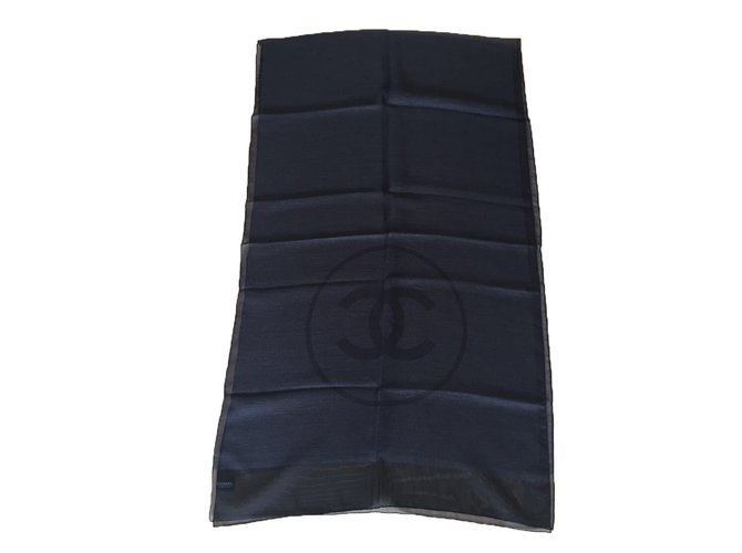 Chanel Scarves Scarves Silk Black ref.48307
