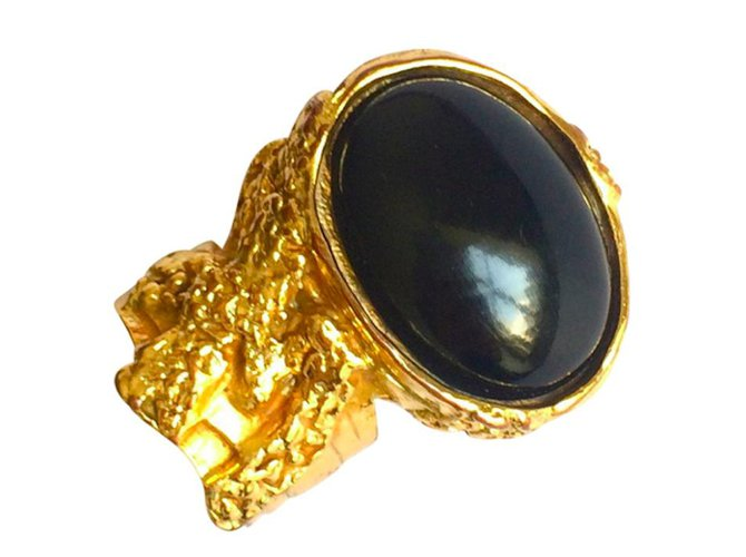 da28ea2c07c0 Yves Saint Laurent Famous Yves Saint Laurent Arty Ring Rings Metal Black  ref.48376