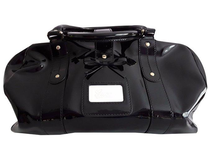 e4fbacfaf44 Gucci Gucci-Boston Handbags Patent leather Black ref.48401 - Joli Closet