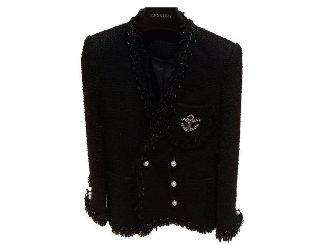 Veste en tweed noire femme