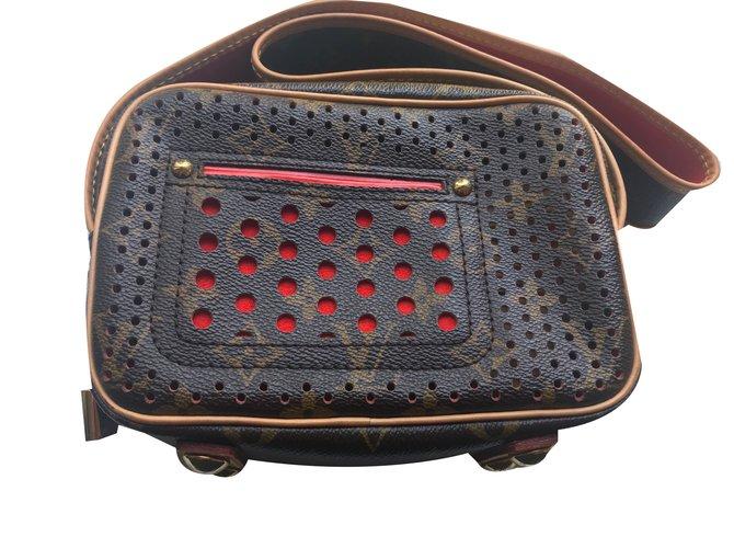 Louis Vuitton Trocadero Perforated Handbags Leather Brown Orange C Ref 48409