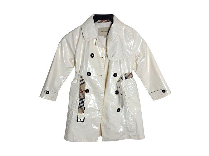 Blousons, manteaux filles Burberry Imperméable Coton Blanc ref.49306