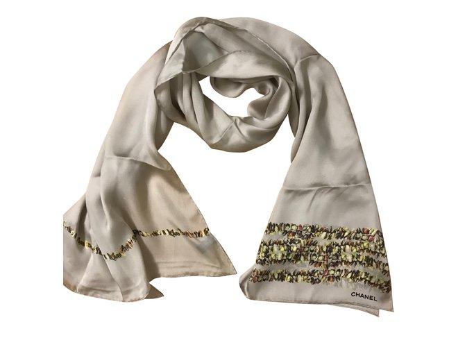 Chanel Scarf Scarves Silk Beige ref.49571