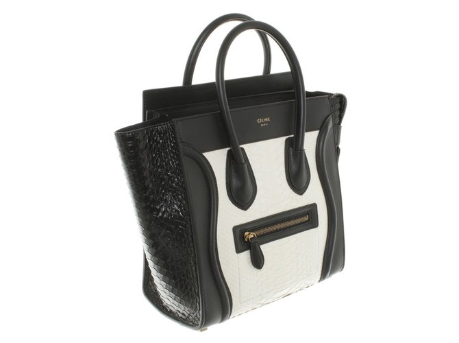 Sacs à main Céline miclo luggage python white black Cuirs exotiques Noir,Blanc ref.49578