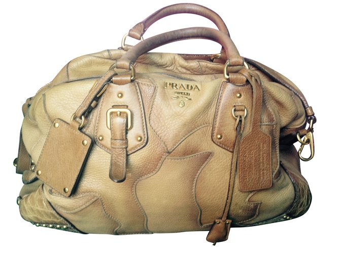 5e70870087ff Prada Prada cervo patch BLO388 Handbags Exotic leather Chestnut ref.49591
