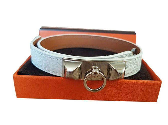 58ffc13cc2d ... purchase hermès rivale double tour bracelet bracelets leather white  ref.49684 a460f de97c