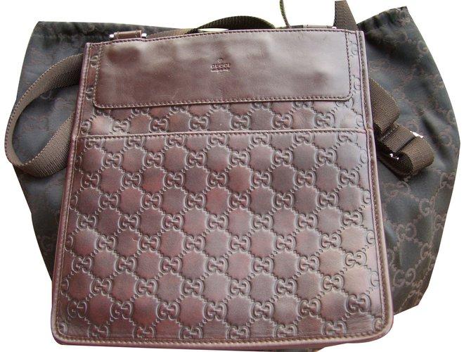 50df78fb7 Gucci Crossbody bag Clutch bags Leather Dark brown ref.49694 - Joli ...