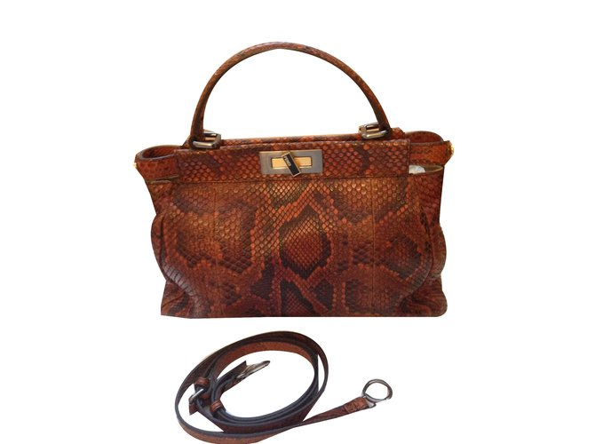 65abfedb0a5f Fendi PEEKABOO Handbags Python Brown