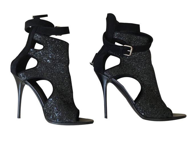 1c2c2fa47de06 Giuseppe Zanotti Glitter sandals Heels Leather Black ref.49878 ...