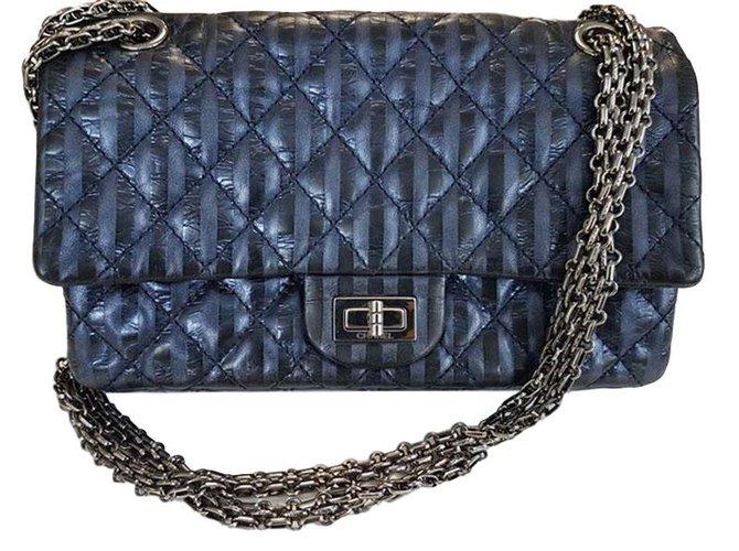 Chanel Navy Blue Striped Metallic Handbags Leather Ref 50167