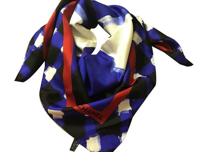 Chanel Scarf Scarves Silk Navy blue ref.50245