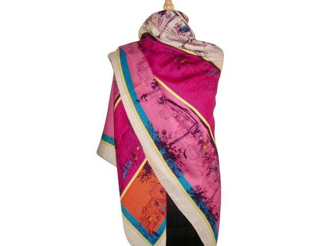 Hermès A L'OMBRE des BOULEVARDS Silk scarves Cashmere Multiple colors ref.50324