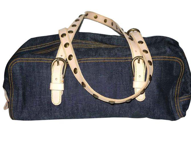 c42d61f9452 Miu Miu Handbags Handbags Cloth Navy blue ref.50568 - Joli Closet