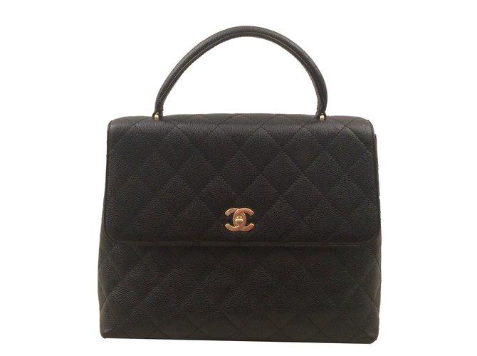 973bc82abd Sacs à main Chanel Sac Chanel Mademoiselle à rabat avec Poignée Cuir  d'agneau Noir
