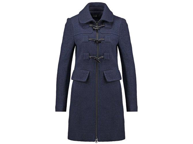 Manteau Court Kookai Duffle Coat Laine Bleu Marine, Zip & Boutons Corne Taille 40