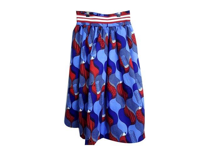 a163e2bf6 Stella Jean STELLA JEAN Blue & Red Cotton Print Skirt 42 IT Skirts Cotton  White,