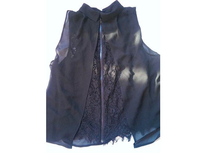 Tops Bel Air Tilleul Coton,Polyester,Viscose,Dentelle Noir ref.50726