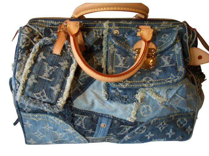Louis Vuitton Speddy 30 Denim Patchwork Handbags Blue Ref 51155