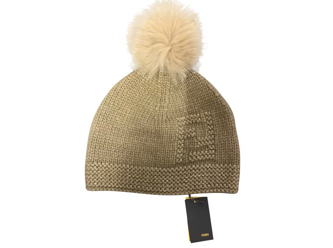 Fendi Hat Hats Wool Beige ref.51245