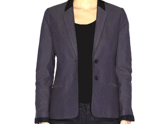 Vestes KOOKAÏ Kookai Veste Tailleur femme Bleu nocturne Coton 38 Coton Bleu  ref.51262 e889e743c8b0